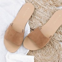 Crete Suede Flats - Tan - Shoes by Sabo Skirt