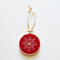 "Christmas Tree Ornament - Red Hand Stitched 3"" Hoop Ornament"