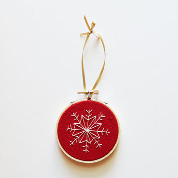 """Christmas Tree Ornament - Red Hand Stitched 3"""" Hoop Ornament"""