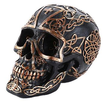 Celtic Pattern Cross Black and Gold Collectible Skull Home Decor Gift