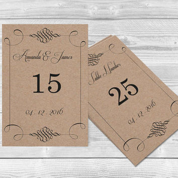 Rustic Kraft Paper Wedding Table Numbers Card Templates - 4x6 Rustic Swirls Printable Kraft Paper - Editable PDF Template - DIY You Print