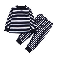 Autumn Winter Baby Toddler Kids Boys Girls Cotton Striped Nightwear Sleepwear Pj's Pajamas set Christmas Clothes 1-7Y