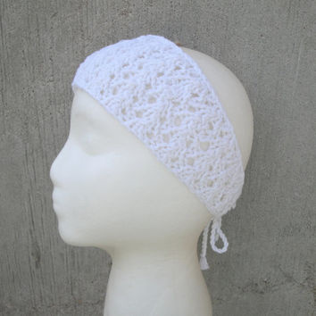 White Knit Headband, Tie Back, Lacy, Hippie/Boho/Gypsy/Hipster, Summer