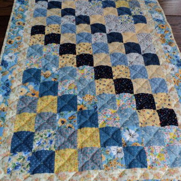 "Patchwork Quilted Table Runner / Table Topper / Centerpiece Mat - Shades of Blue and Yellow - 20"" wide x 34"" long"