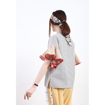 Breton Stripe Boxy Top With Contrast Frill Sleeves - White