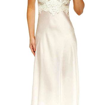 Nightgown - Bridal Ivory Satin Charmeuse & Lace (Large)