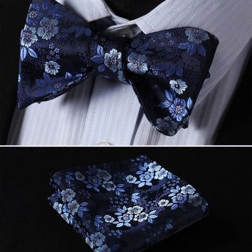 Floral 100%Silk Jacquard Woven Men Butterfly Self Bow Tie BowTie Pocket Square Handkerchief Hanky Suit Set #RR1