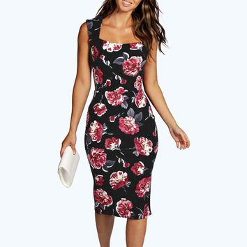 vetement femme 2019 Womens sling dress sexy ladies Sleeveless Floral Bodycon Cocktail Pencil Ladies Party Dresses vestiti donna