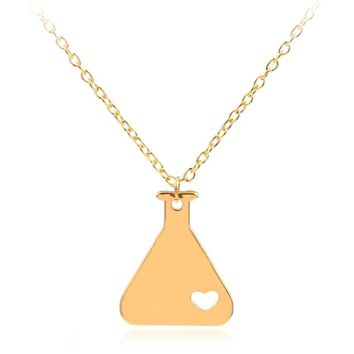 2018 Fashion Long Necklaces Science Erlenmeyer Flask Chemistry Necklace Nerd Love Science Biology Necklace Heart Collar Mujer
