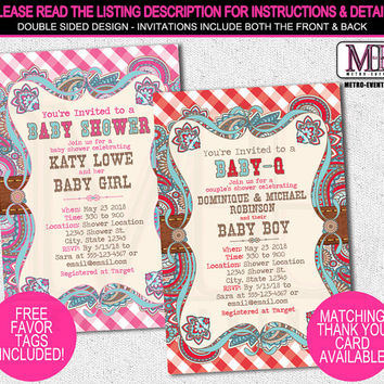 Country Baby Shower Invitations, Western Baby Shower Invitations, Cowgirl or Cowboy Baby Shower