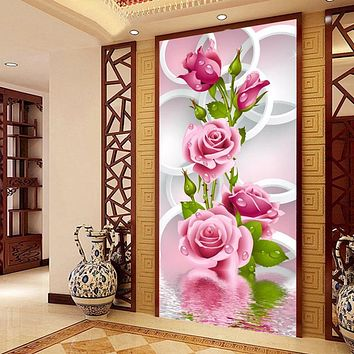 Zozack Chinese Needlework,DIY DMC roses cross stitch Printed patterns, Sets For Embroidery cross-stitch kits Home Decor Two size