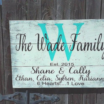 Personalized Name Sign Family Name Sign Blended Family Sign Pallet Sign Distressed Wood Housewarming Gift Photo Wall Sign Rustic Chic Sign
