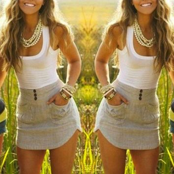 Boho Chic Sleeveless Dress with Pockets