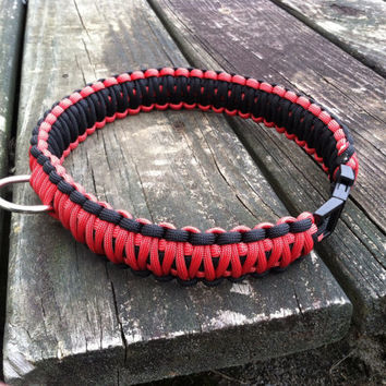Dog Collar, King Cobra Braid, Red and Black 20 inches