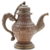 Vintage Nepalese Teapot in Copper and White Metal