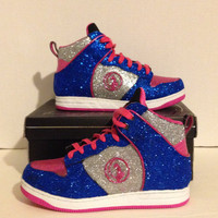 Custom Blue and PInk Baby Phat Girls Glitter High Top Sneakers Size 3