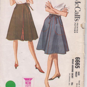 "Vintage 1960s pattern for lined 4 gore wrap skirt with front tie and pockets misses size S 10-12 waist 24-25"" McCalls 6665 CUT and COMPLETE"