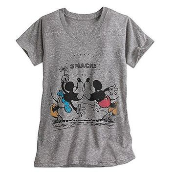 Disney Mickey and Minnie Mouse Tee for Women Gray