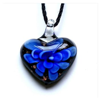 Inner Gold Dust Heart Lampwork Murano Glass Pendant Necklace