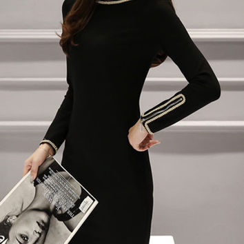 Korean Black Round Neck Long Sleeve High Waist Mini Bodycon Dress