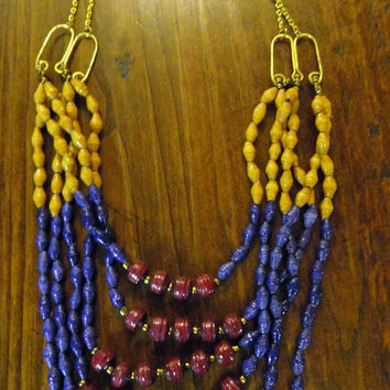 African Paper Bead, Triple Tiered Necklace   Handmade In Uganda (Small/Indie Brands)