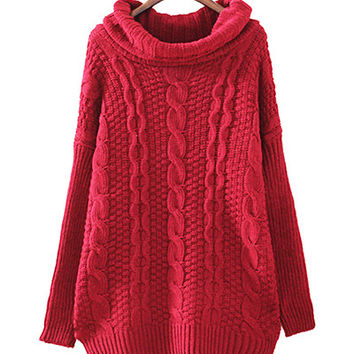 Burgundy Turtle Neck Cable Knitted Sweater