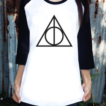 Deathly Hallows Clothing Shirt Harry Potter Shirt NM Raglan White Women 3/4 Long Sleeve