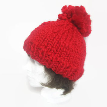 Chunky Knit Beanie Hat with Pom Pom – Hand Knit Beanie Hat – Red Wool Knit Beanie Hat – Winter Pom Pom Hat – Christmas Gift for Her