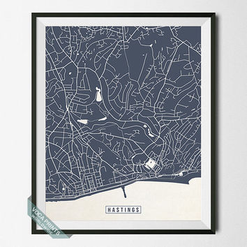 Hastings Map, Hastings Print, England Poster, Hastings Poster, England Map, England Print, Street Map, Wall Art