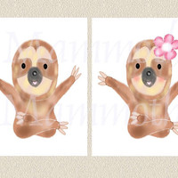 Sloth wall art 2 for boy girl room/ Cute sloth with flower print /JPG images watercolor art Animal digital download/ Kids wall decor