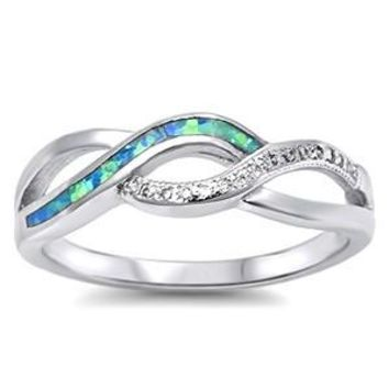 Sterling Silver Created Blue Opal Inlay & CZ Infinity Swirl Ring