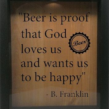 "Wooden Shadow Box Wine Cork/Bottle Cap Holder 9""x11"" - Beer is Proof that God Loves Us"