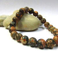 Leopardskin Jasper Beaded Bracelet - 8mm Earthy Pink Beads