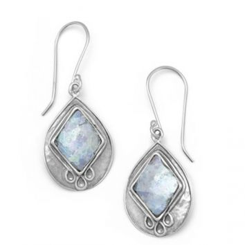 Sterling Ancient Roman Glass Earrings