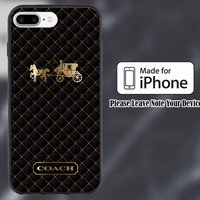Coach Gold Black Logo Print On Hard Plastic Case For iPhone 6/6s 7/7+ 6/6s+