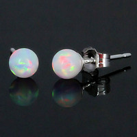 4mm Australian Fiery White Opal Ball Stud Post by 1000jewels