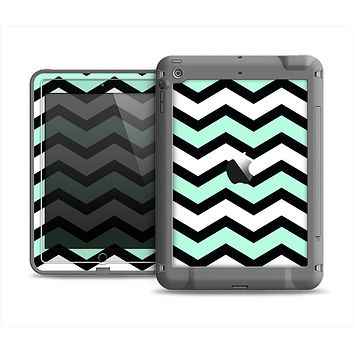 The Teal & Black Wide Chevron Pattern Apple iPad Air LifeProof Fre Case Skin Set