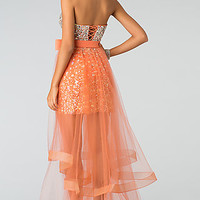 Strapless Sweetheart Orange Prom Dress with Removable Skirt