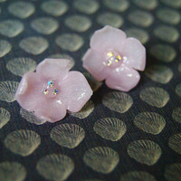 Vintage style, Pastel Pink Flower Earrings, Clip On, Crystal,Polymer Clay, Oriental, Japanese, Lolita, Wedding, Bridesmaids, Gift for her