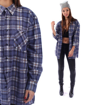 FADED FLANNEL Shirt 90s Plaid Grunge Lumberjack Navy Blue Oversize Long Sleeve Button Up Vintage Women Men Lumberjack  Medium Large XL