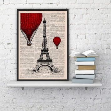 Vintage Book Print -  Eiffel Tower Balloon Ride Print on Vintage Book -France art BPTV027b