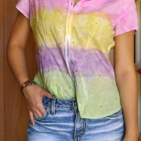 Turquoise, Pink, Yellow, Purple and Green Tye-Dyed Striped Shirt