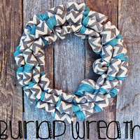 Chevron and Turquoise Burlap Wreath