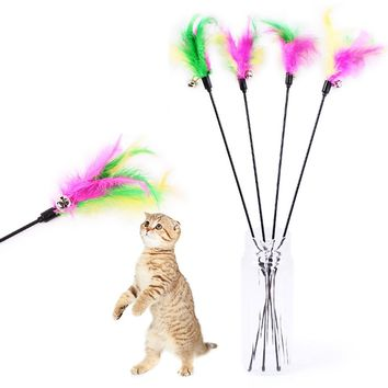 ISHOWTIENDA 1PC Kitten Cat Teaser Interactive Toy Rod with Bell and Feather Toy bells funny cat pole 0510