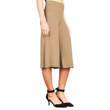 Summer New 2016 Fashion Women Elegant Trousers Wide Leg Culottes High Waist Solid Color Casual Calf-length Pants  S-XXL