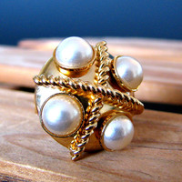 Abstract Ring - Gold and Pearl Ring - Large Ring - Cocktail Ring - Statement Ring - Gifts For Her - Gifts Under 10 - Costume Jewelry