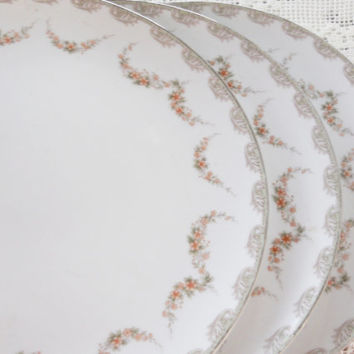 Vintage Noritake Denise Dinner Plates, Set of 3, Tea Party for 3, Cottage Chic, Replacement China