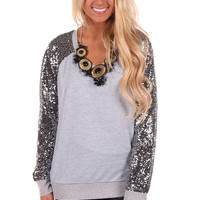 Grey Sweater with Sequin Sleeve Detail
