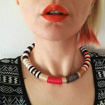 Statement rope necklace / choker necklace / color block / black / gold / white / beige / pink / red / orange /gift for her / handmade