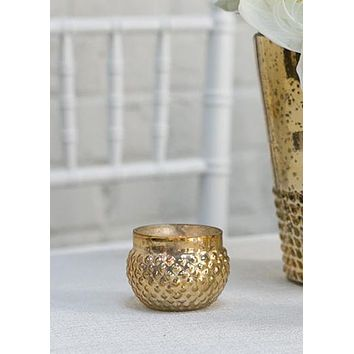 "Round Mercury Glass Votive in Light Gold - 2"" Tall x 2.75"" Wide"